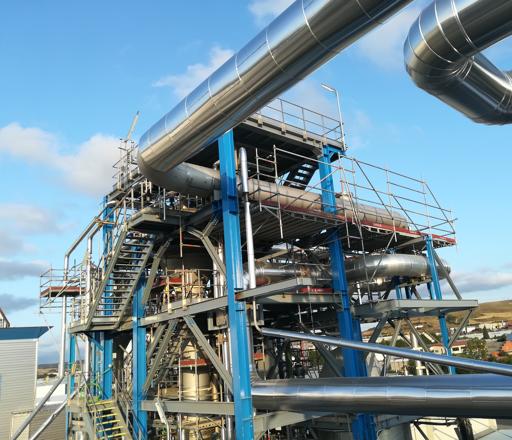 Estructura de tuberías industriales